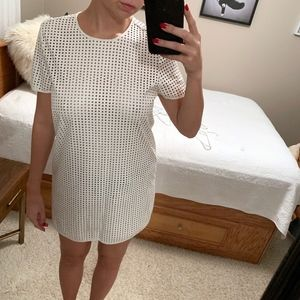 White T-Shirt  Style Dress with Perforated Holes